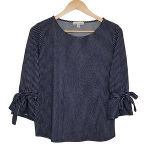 FAITH AND JOY Blouse Stripes 3/4 Sleeves Blue
